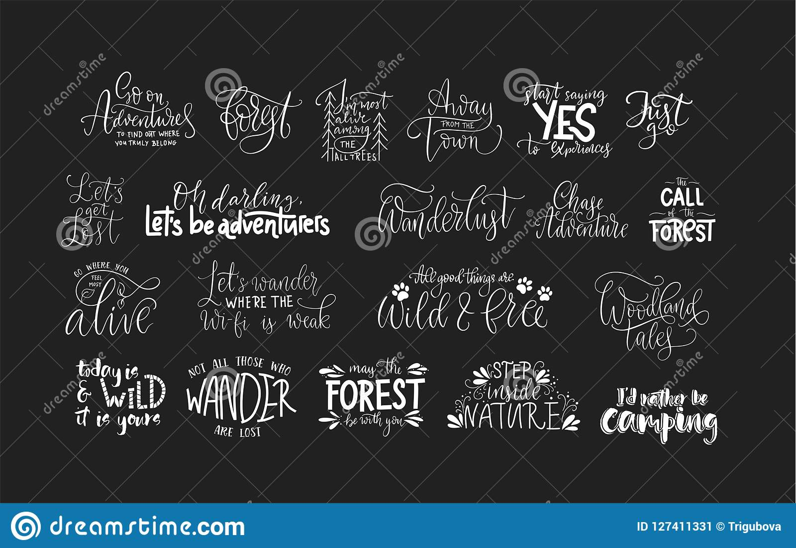 Set Of Adventure And Travel Vector Quotes. Stock Vector ...